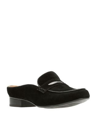 Keesha Suede Loafer Mules by Clarks