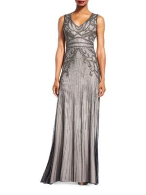 Beaded Sleeveless Gown by Adrianna Papell