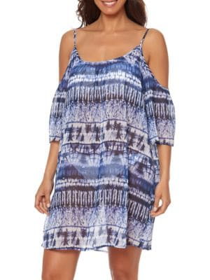 Printed Cold-Shoulder Coverup by Bleu By Rod Beattie