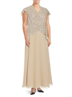 Plus Drape-Front Sequined Taupe Gown by J Kara