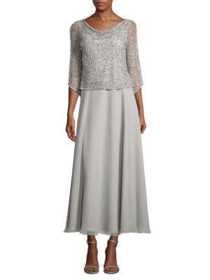 Sequined Mesh Dress by J Kara