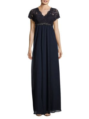 Embellished Lace-Trimmed Gown by Teri Jon