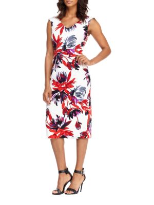 Floral-Print Cap-Sleeve Dress by Maggy London