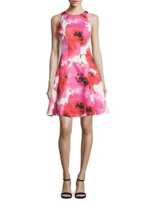Floral-Print Princess-Seam Dress by Maggy London