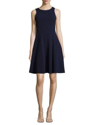 Embellished Fit and Flare Dress by Ivanka Trump