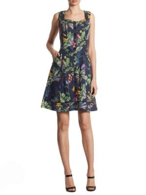 Tropical Floral Fit and Flare Dress by Ivanka Trump