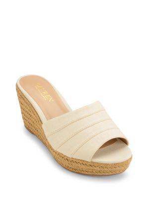 Photo of Karlia Linen Wedge Sandals by Lauren Ralph Lauren - shop Lauren Ralph Lauren shoes sales
