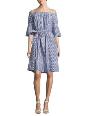 Belted Striped Dress by Donna Morgan