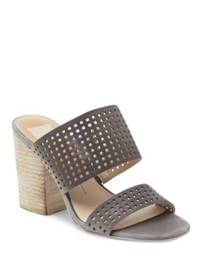 Esme Perforated Leather Block Heel Slide Sandals by Dolce Vita