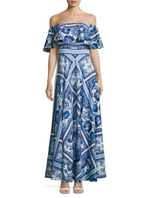 Floral Off-The-Shoulder Maxi Dress by Eliza J