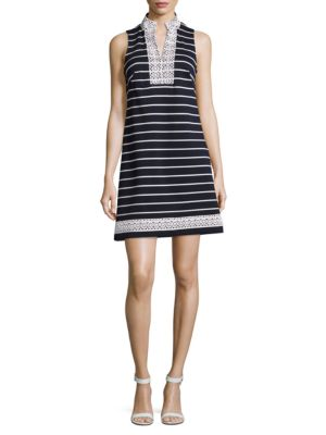 Embroidered and Striped Sleeveless Dress by Eliza J