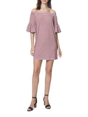 Striped Off-the-Shoulder Dress by Belle Badgley Mischka