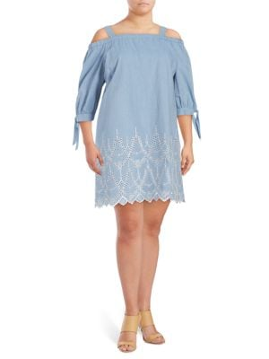 Cold-Shoulder Chambray Denim Tunic by Eliza J