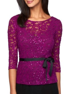 Sequined Lace top by Alex Evenings