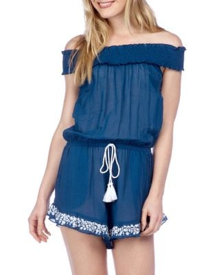 Off-The-Shoulder Tassel Romper by Lucky Brand