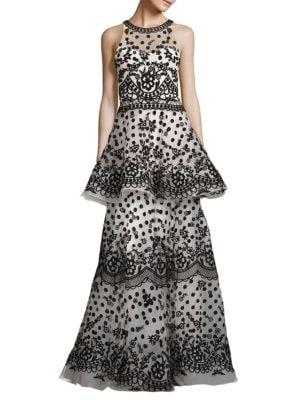 Sleeveless Tiered Gown by Marchesa Notte