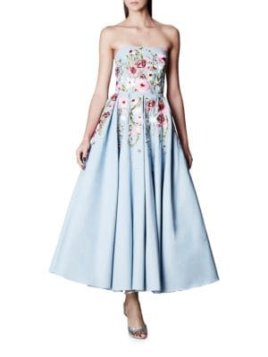 Floral-Motif Fit-and-Flare Gown by Marchesa Notte