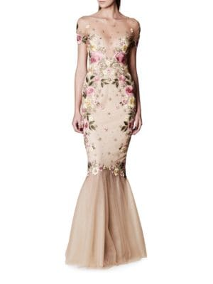 Embroidered Mermaid Gown by Xscape