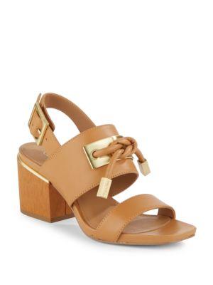 Jilline Leather Block Heel Sandals by Calvin Klein