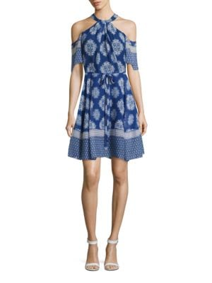 Printed Silk Cold-Shoulder Dress by Shoshanna