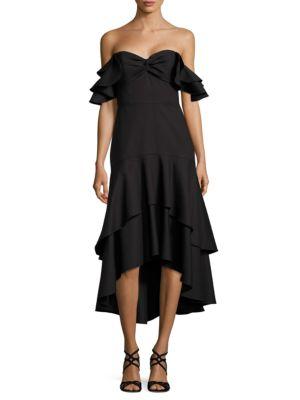 MIDNIGHT Off-the-Shoulder Hi-Lo Hem Dress by Shoshanna