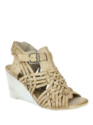 Dually Noted Leather Wedge Sandals by Naughty Monkey