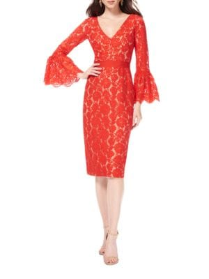 Bell Sleeve Lace Dress by Theia