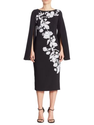 Cape Sleeve Floral Applique Dress by Theia