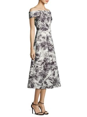 Floral Printed Off-the-Shoulder Tea Dress by Theia
