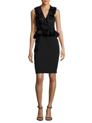 Ruffled Pencil Dress by Badgley Mischka Platinum