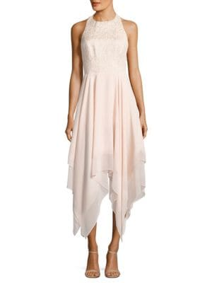 Jacquard Cutout Handkerchief Hem Dress by Aidan Aidan Mattox