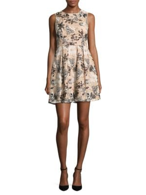 Embroidered Fit-and-Flare Dress by Aidan Aidan Mattox