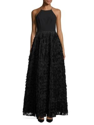 Fringed Halter Dress by Aidan Aidan Mattox