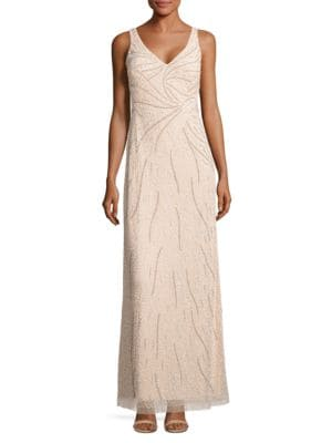V-Neck Sleeveless Embellished Dress by Aidan Aidan Mattox