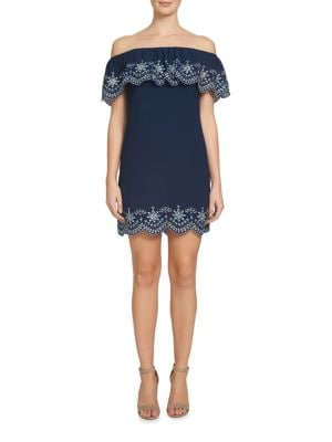 Allison Off-The-Shoulder Embroidered Dress by Cynthia Steffe