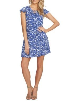 Arianna Lace-Up Speckle Ditsy Dress by Cynthia Steffe