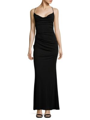 Crossed Back Strap Gown by Nicole Miller