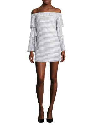 Off-The-Shoulder Gingham Plaid Dress by Wayf