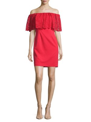 Lace Popover Off-the-Shoulder Dress by Aidan Aidan Mattox
