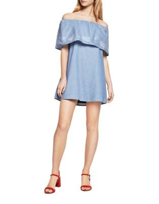 Embroidered Off-the-Shoulder Chambray Dress by BCBGeneration