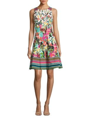 Floral Fit-and-Flare Dress by Maggy London