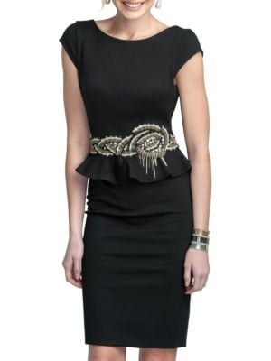 Embroidered Peplum Dress by Glamour by Terani Couture