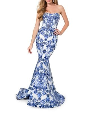 Paisley-Print Strapless Train Gown by Glamour by Terani Couture