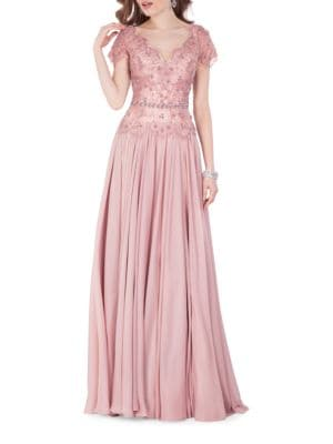 Sequin Embellished Pleated Gown by Glamour by Terani Couture