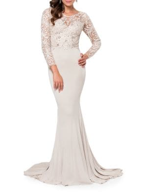 Beaded Lace Gown by Glamour by Terani Couture
