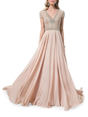 V-Neck Beaded Gown by Glamour by Terani Couture