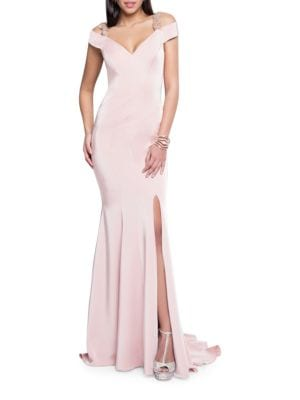 Off-The-Shoulder Beaded Gown by Glamour by Terani Couture