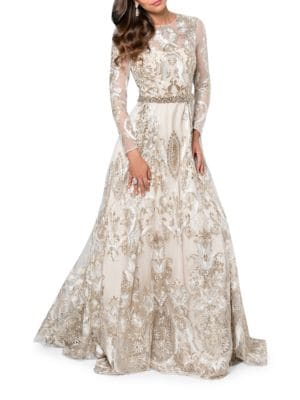 Embroidered Fit and Flare Gown by Glamour by Terani Couture