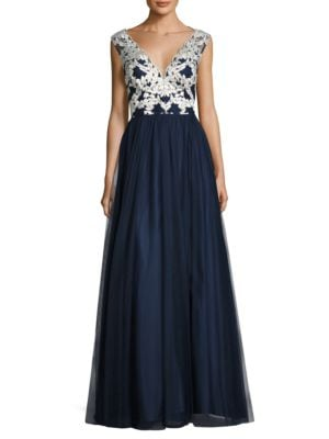 Embroidered Tulle Gown by Aidan Aidan Mattox