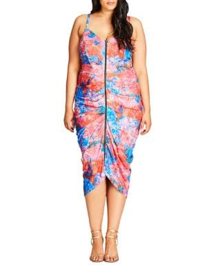 Plus Printed V-Neck Draped Dress by City Chic